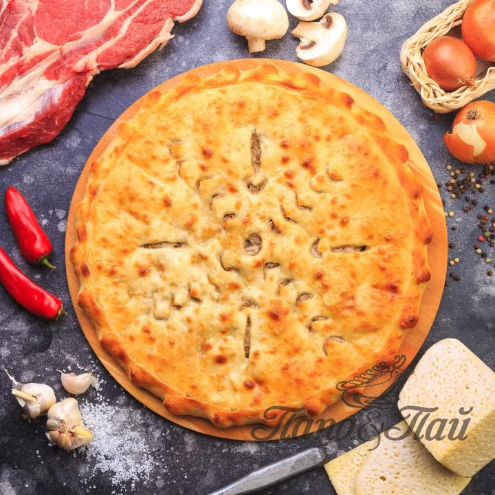 Осетинский пирог с сыром  мясом и  грибами